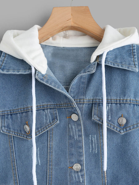 Blue 2 in 1 Ribbed Knit Hooded Denim Jacket
