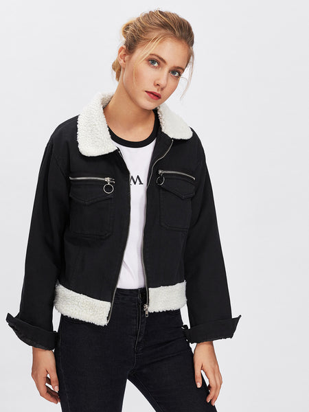 Black Contrast Faux Fur Zip Detail Denim Jacket