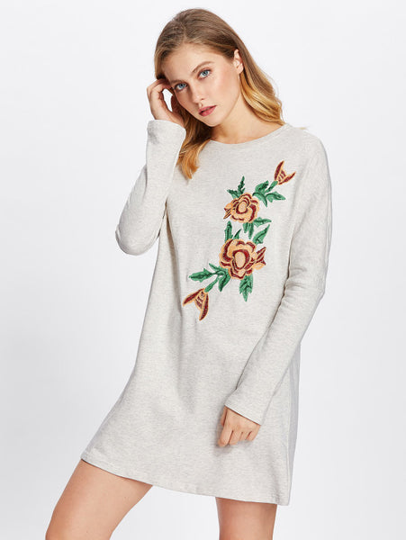 Grey Flower Embroidered Patch Round Neckline Long Sleeve Heather Knit Sweatshirt Mini Dress