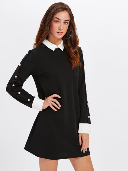 Black Contrast Boy Collar Pearl Beading A Line Dress