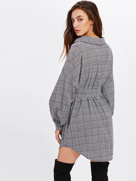 Grey Allover Checkered V-Neckline Lapel Wrap Tunic Shift Long Sleeve Dolphin Hem Belted Mini Dress