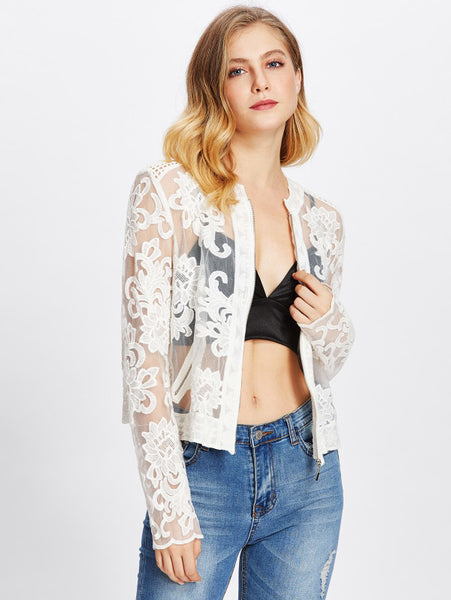 2b743f574151d White Sheer Embroidered Mesh Zip Up Jacket – Lyfie