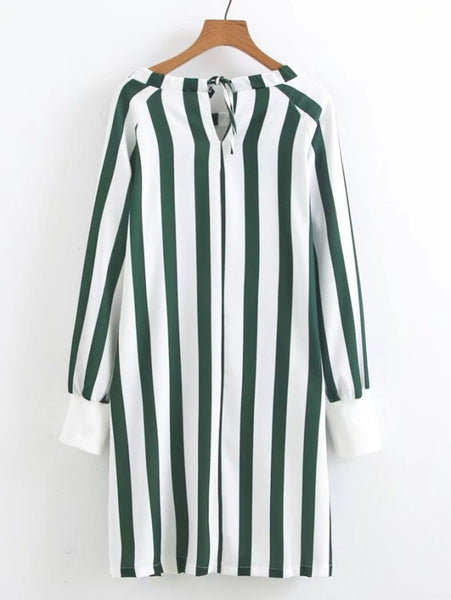 Green Allover Vertical Striped Scoop Neckline Tie Back Tunic Shift Long Sleeve Mini Dress