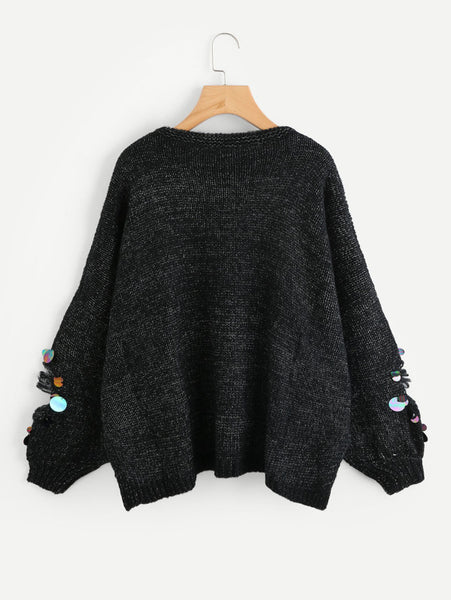 Black Knit Ripped Marled Jumper With Iridescent Sequin