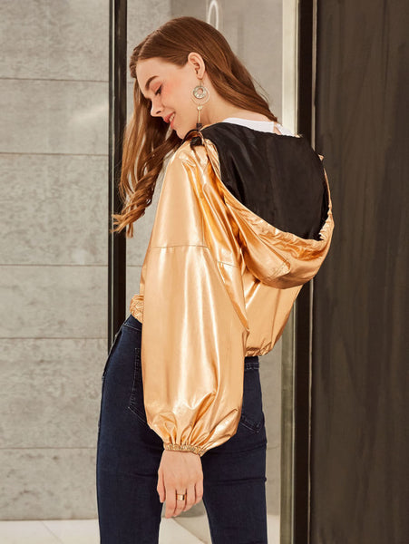 Gold Zip Up Hooded Drawstring Hem Jacket