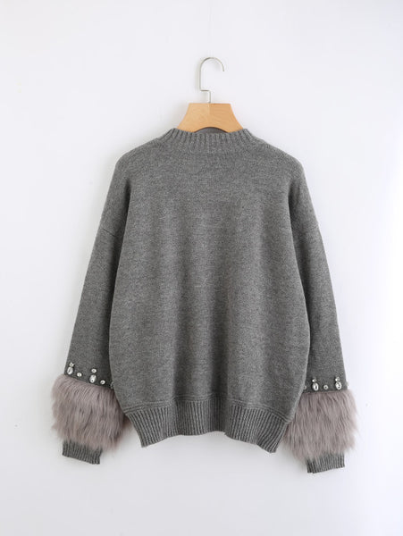 Grey Faux Fur Embellished Cuff Jumper With Rhinestone Ans