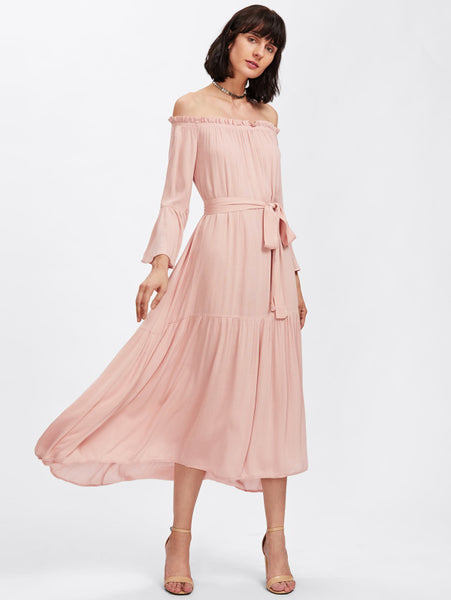 c0fe0ff7af8e2 Plain Pink Off Shoulder A Line Self Tie Ruffle Long Sleeve Tiered Bard –  Lyfie