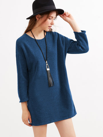 Blue Drop Shoulder Dress With Side Pockets