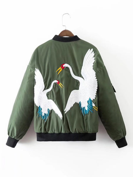 Army Green Quilted Bomber Crane Embroidery Jacket