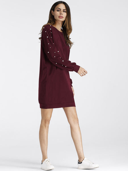 Burgundy Pearl Beading Round Neck Raglan Dress