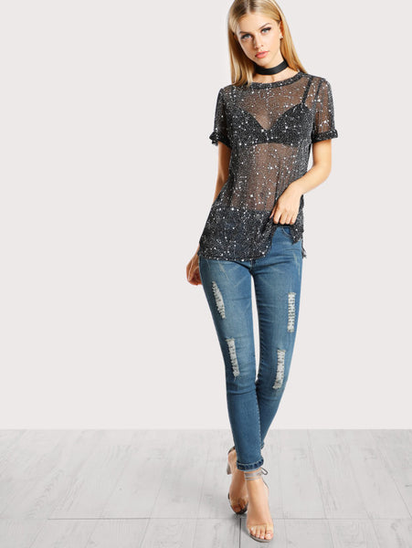 Black Round Neck Allover Star Mesh Short Sleeve Top