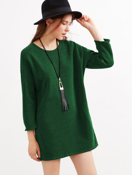 Green Drop Shoulder Dress With Side Pockets