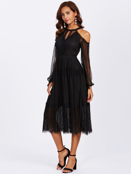 Black Mesh Overlay Open Shoulder Cutout Eyelash Hem Dress