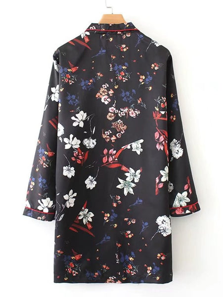 Black Contrast Trim Allover Floral Print Lapel Neckline Front Pocket and Button Long Sleeve Pajama Shirt Mini Dress