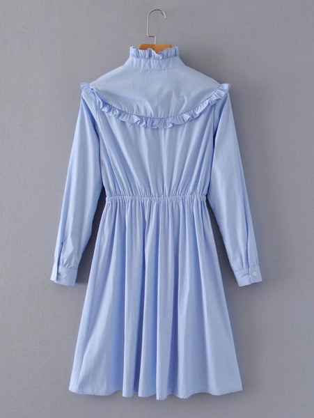 Blue Floral Embroidered Allover Striped Ruffle Detail High Neckline Buttoned Long Sleeve Mini Dress
