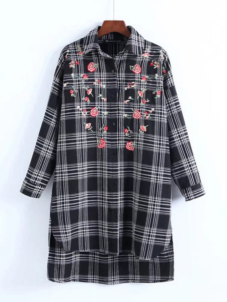 Black Embroidered Flower Allover Checkered Long Sleeve Shirt Mini Dress