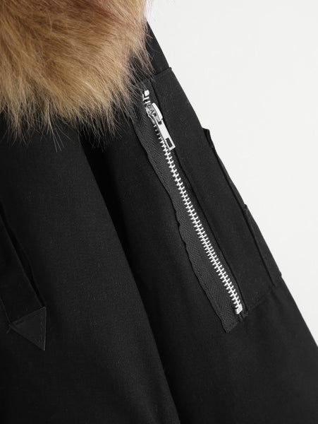 Black Faux Fur Patch Detail Drawstring Waistline Parka Coat
