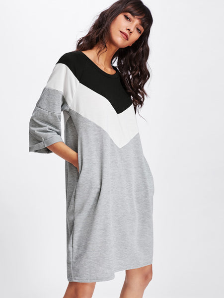 Multi-Color Sweatshirt Wide Striped Contrast Dress