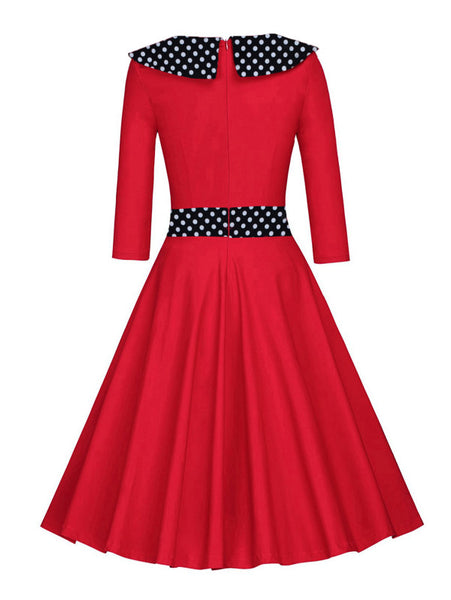 5db942fb184 Red Contrast Polka Dot Lapel Neckline Long Sleeve Flare Midi Dress – Lyfie