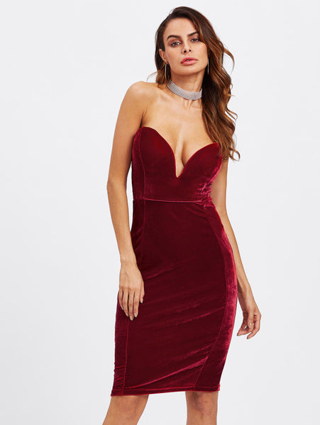 50c6f5743054 Plain Burgundy Plunging Deep V-Neckline Strapless Bodycon Sleeveless Velvet  Midi Dress