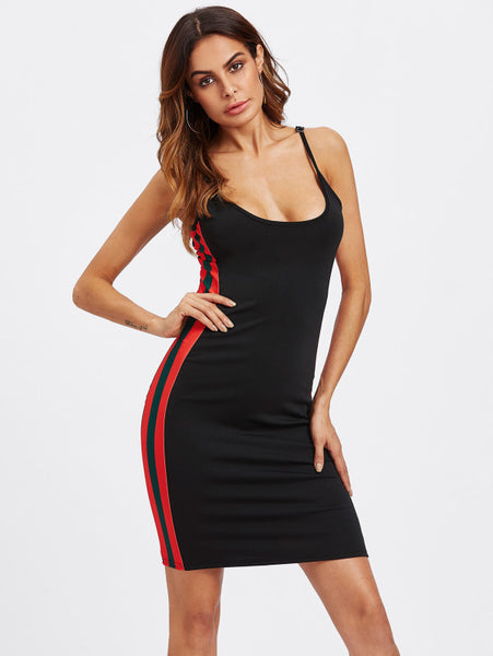 Black Side Striped Cami Straps Bodycon Sleeveless Mini Dress