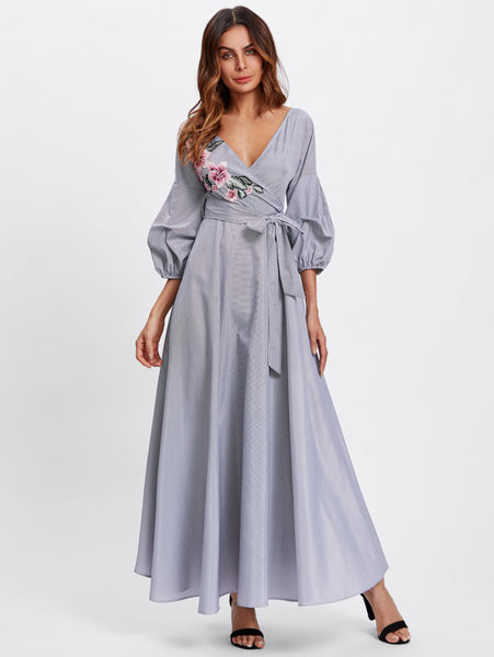 Black And White Flower Patch Allover Striped Deep V-Neckline Surplice Wrap A Line Puff 3/4 Sleeve Self Tie Maxi Dress