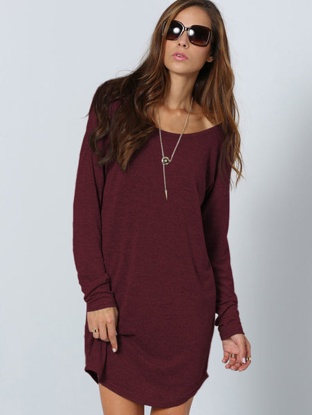 Burgundy Long Sleeve V-Cut Back Curved Hem Dress