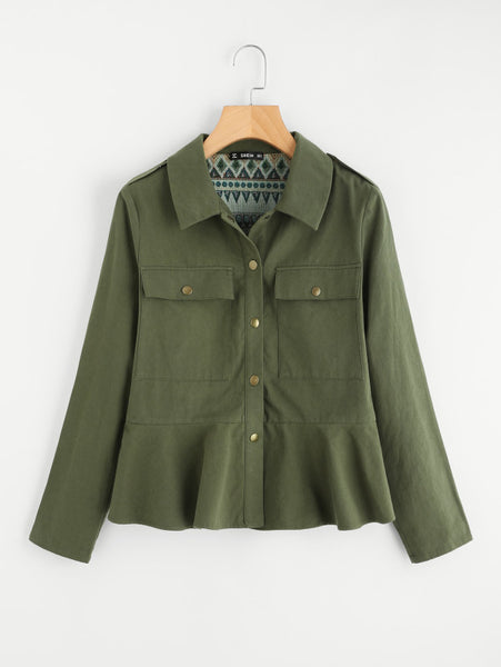 Army Green Dual Pocket Buttoned Up Tribal Detail Utility Jacket