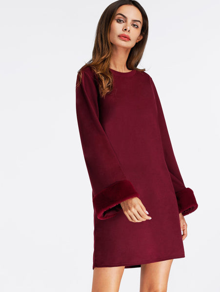 Burgundy Faux Fur Cuff Round Neck Shift Dress
