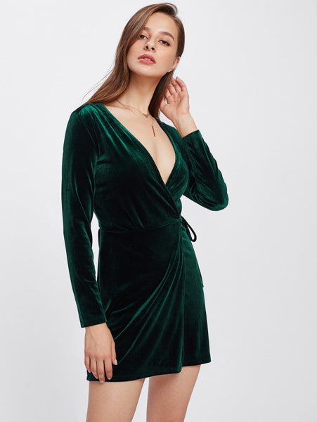 Green Surplice Wrap Long Sleeve Velvet Plunging Dress