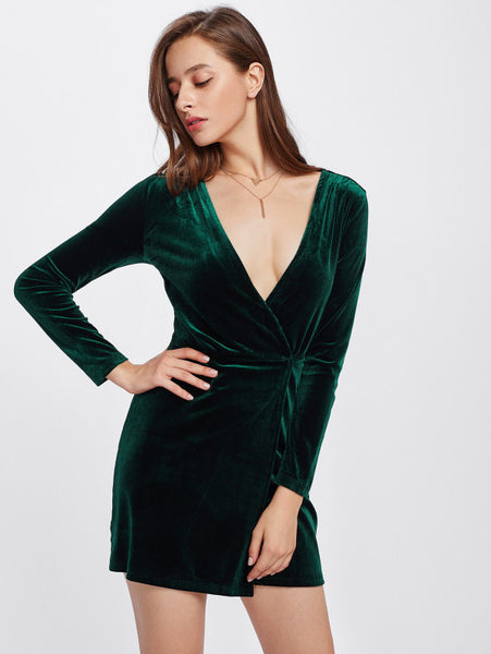 dc31408816 Green Surplice Wrap Long Sleeve Velvet Plunging Dress – Lyfie