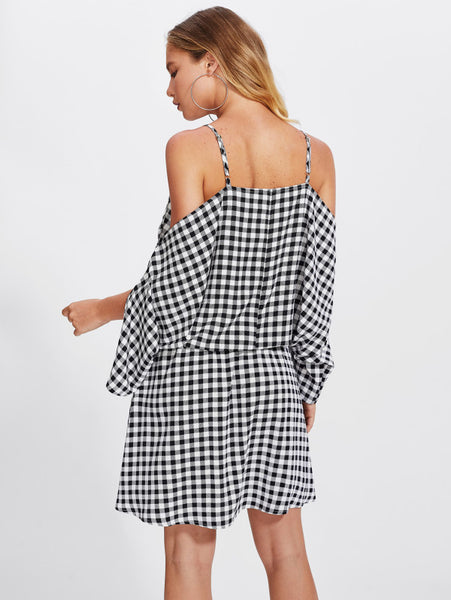 Black And White Gingham Blouson Dolman Sleeve Dress