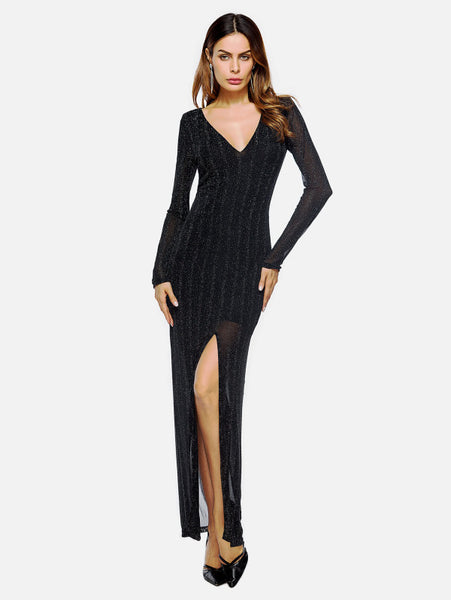 a1b098454f Black V-Neckline Sheath Long Sleeve Side Split Mesh Maxi Dress – Lyfie