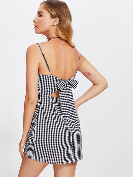 Black And White Allover Checkered Cami Straps Slip Sheath Sleeveless Cut Out Bow Back Mini Dress