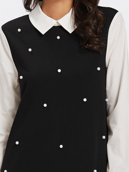 Black and White Pearl Embellishing Collar Swing Dress