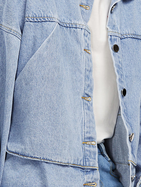 Blue Raw Hem Drop Shoulder Bow Tie Hem Denim Jacket
