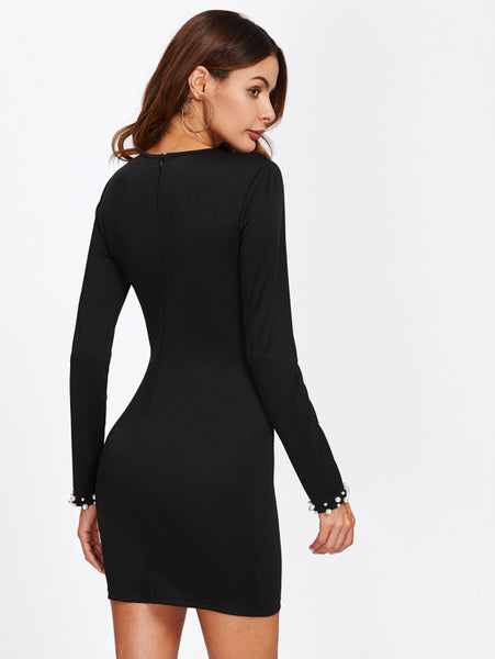 Black Pearl Beading Long Sleeve Fitted Mini Dress