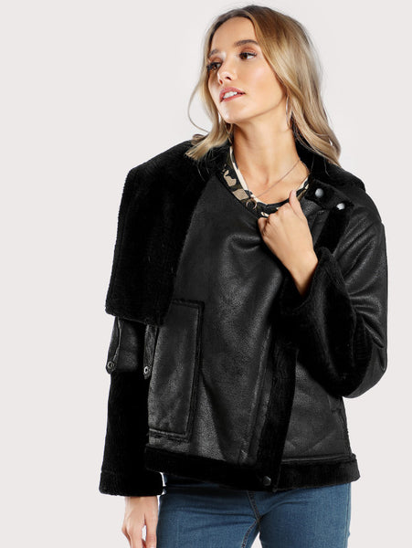 Black Faux Shearling Zip Up Jacket