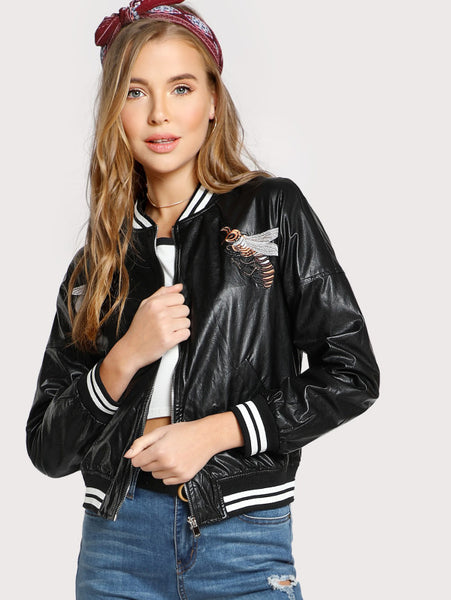 Black Striped Trim Bee Embroidery Bomber Jacket