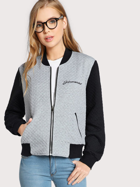 Grey Contrast Text Embroidered Textured Bomber Jacket