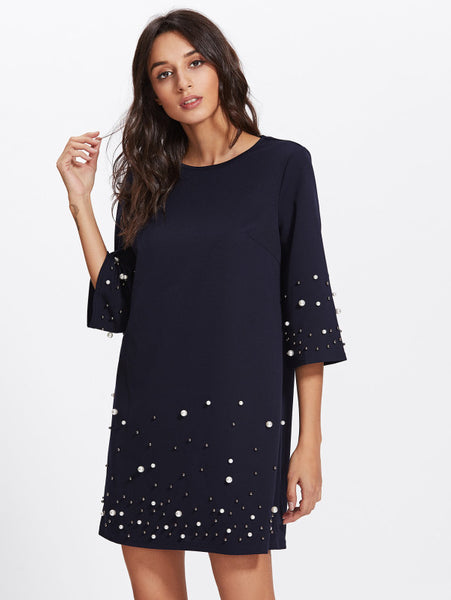 4f9a4cd57718 Navy Blue Tunic Dress With Pearl Beading – Lyfie
