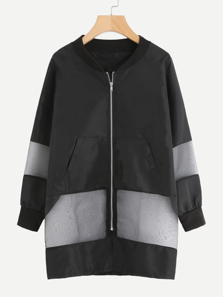 Black Contrast Mesh Panel Oversized Zip Up Jacket