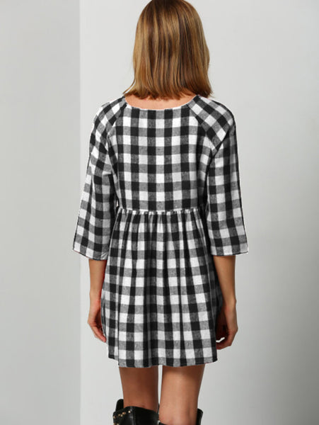 Black And White Smock Gingham Raglan Sleeve Dress
