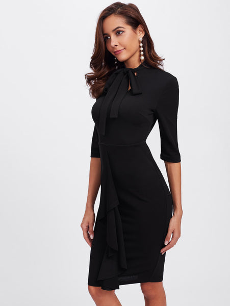 Black Fitting Vented Back Form Bow Tie Neck Dress