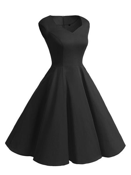 Black V-Neckline Self-Tie Flare Dress