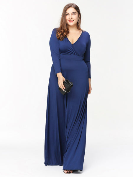 Blue V-Neck Surplice A-Line Maxi Dress