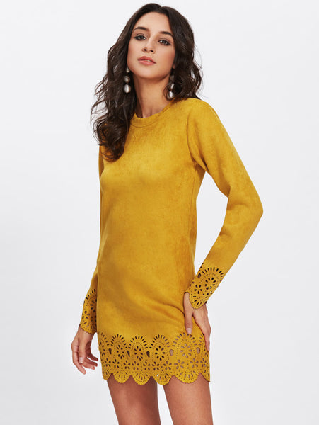 Yellow Laser Cut Scallop Suede Dress