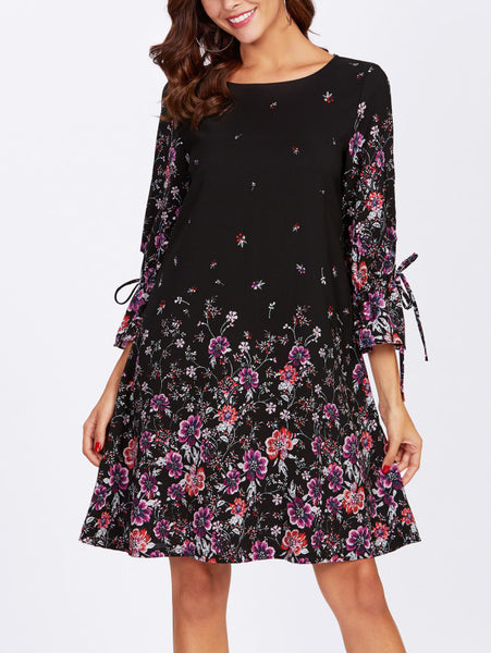Black Floral Print Bow Tie Bell Cuff Dress