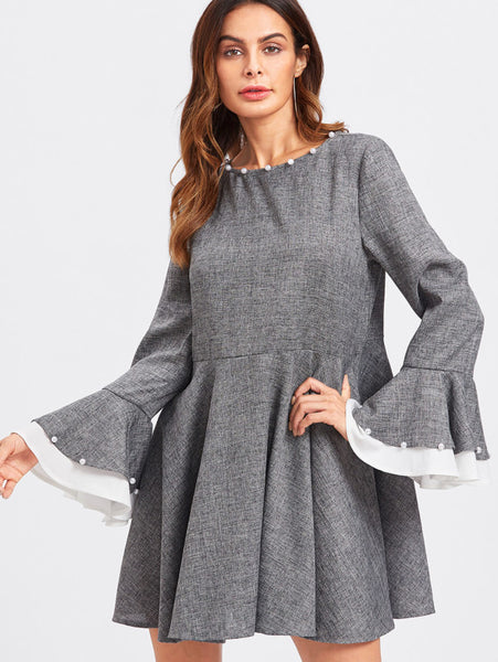 Grey Bell Cuff Pearl Beading Contrast Trim Dress