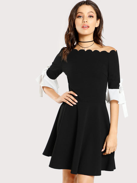 Black Off Shoulder Scalloped Dress